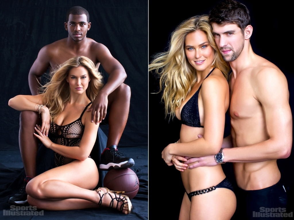 Bar Refaeli posa ao lado de Chris Paul e Michael Phelps