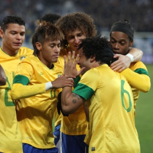 : Marcelo comemora ao abrir o placar para o Brasil, que venceu por 2 a 1