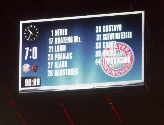 Placar no Allianz Arena ilustra o massacre do Bayern sobre o Basel, que garantiu a classificação dos alemães