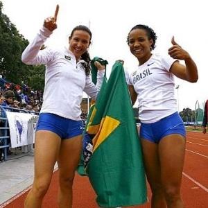 Marren Maggi e Keila Costa comemoram medalhas no Sul-Americano de Atletismo