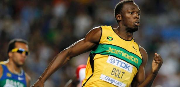 Usain Bolt &#233; o atual recordista mundial dos 100 m e dos 200 m e tamb&#233;m campe&#227;o ol&#237;mpico das duas provas