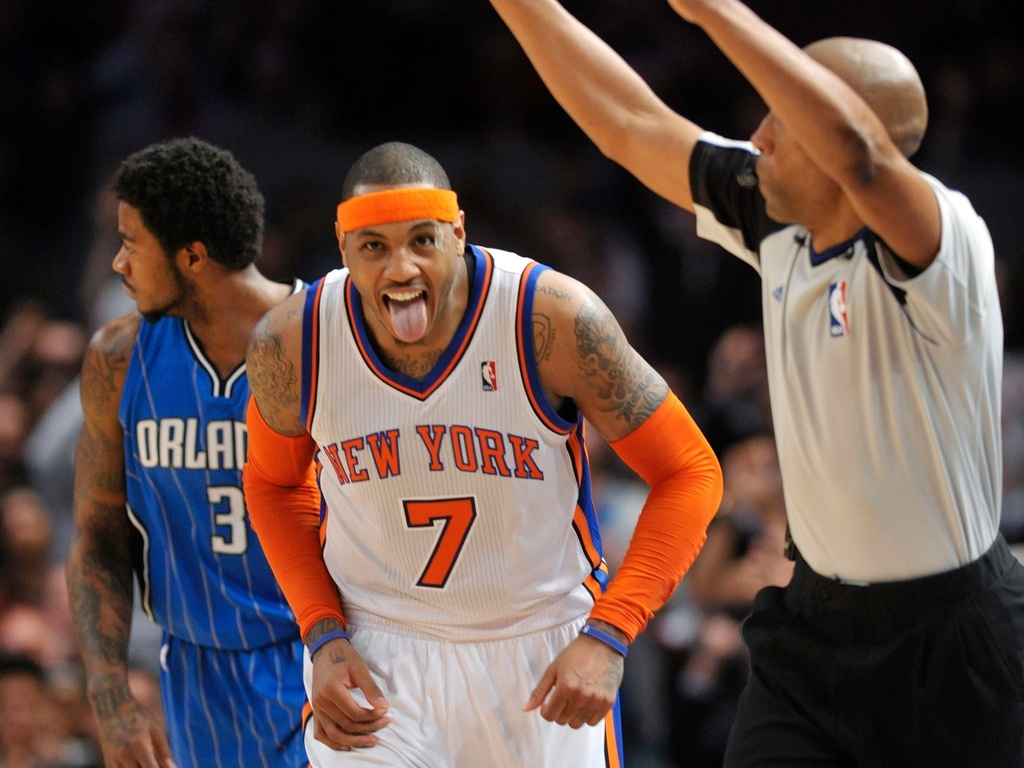 Carmelo Anthony comemora durante jogo entre New York Knicks e Orlando Magic