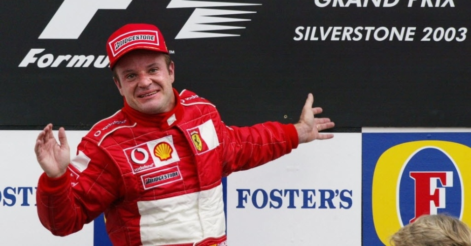 Rubens Barrichello samba no pdio de Silverstone em 2003