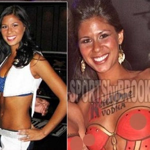 Malori Wampler foi demitida do posto de cheerleader do Indianapolis Colts por posar com o corpo pintado em ao da Playboy 