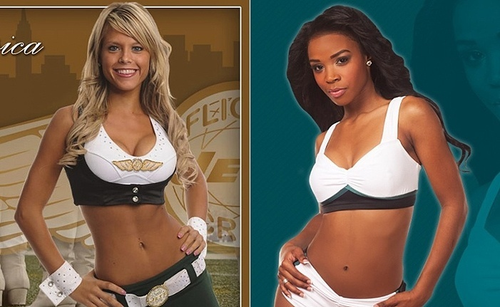 Cheerleaders: Jessica (New York Jets), à esquerda, e Erica (Philadelphia Eagles)