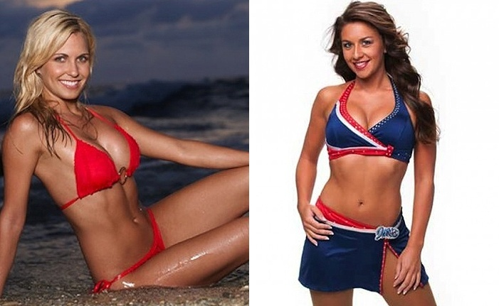 Cheerleaders: Jordan Chanley (Dallas Cowboys), à esquerda, e Brianne (Buffalo Bills)