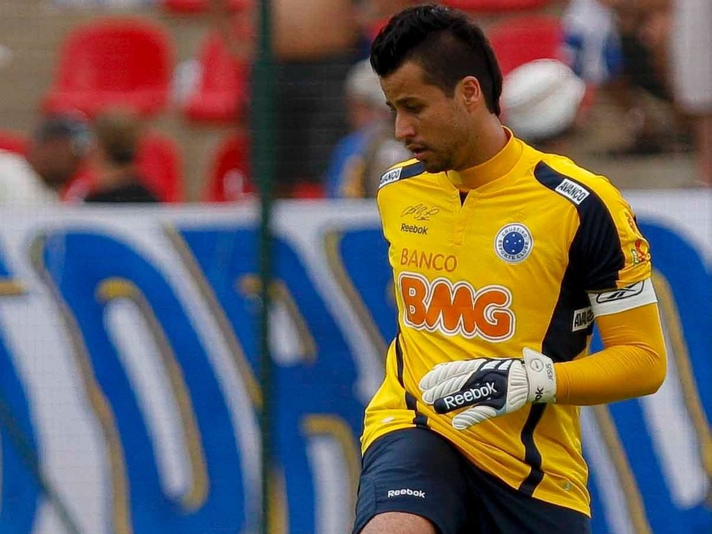 Goleiro Fbio, do Cruzeiro, durante a vitria contra o Palmeiras
