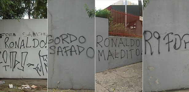 Montagem do protesto da torcida contra Ronaldo