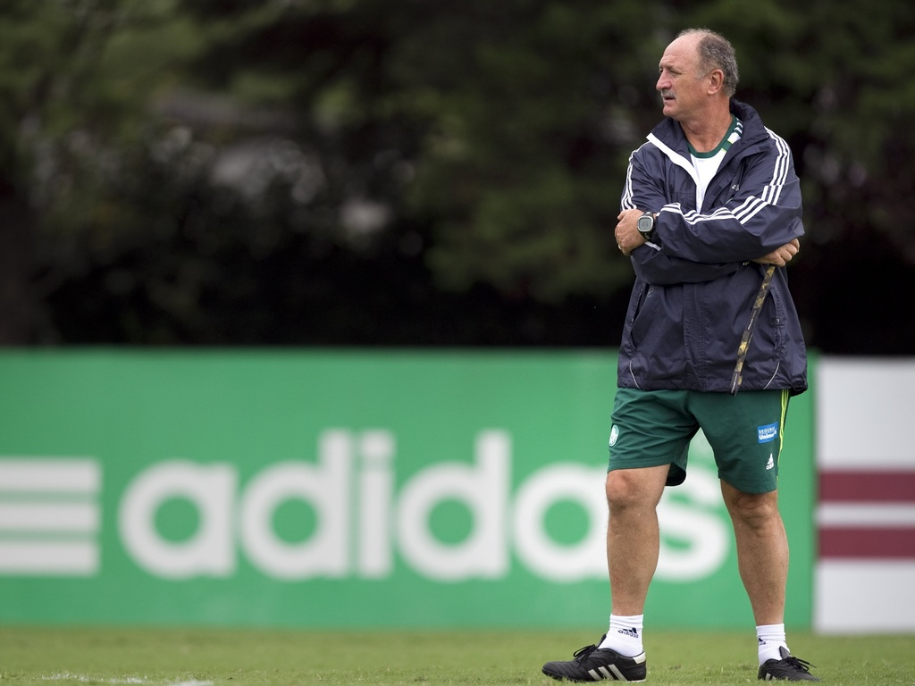 Tcnico Luiz Felipe Scolari  fotografado durante treino do Palmeiras