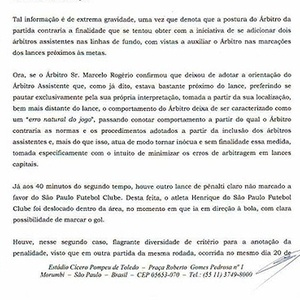 So Paulo elabora documento protestando contra arbitragem