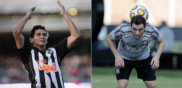 Paulo Henrique Ganso, do Santos, e Bruno César, do Corinthians