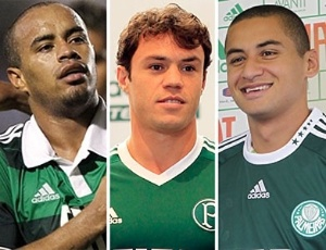 Palmeirenses Thiago Heleno (e), Kleber (c) e Wellington Paulista j foram treinados pelo tcnico Adlson Batista
