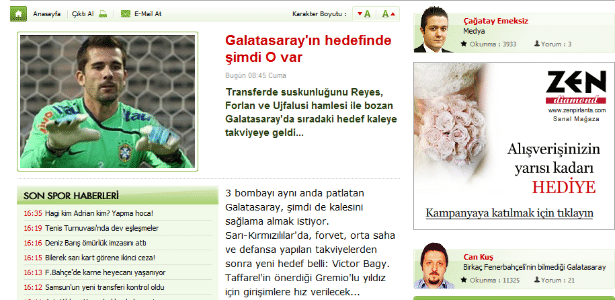 Print Screen do site internetspor, da Turquia (17/06/2011)
