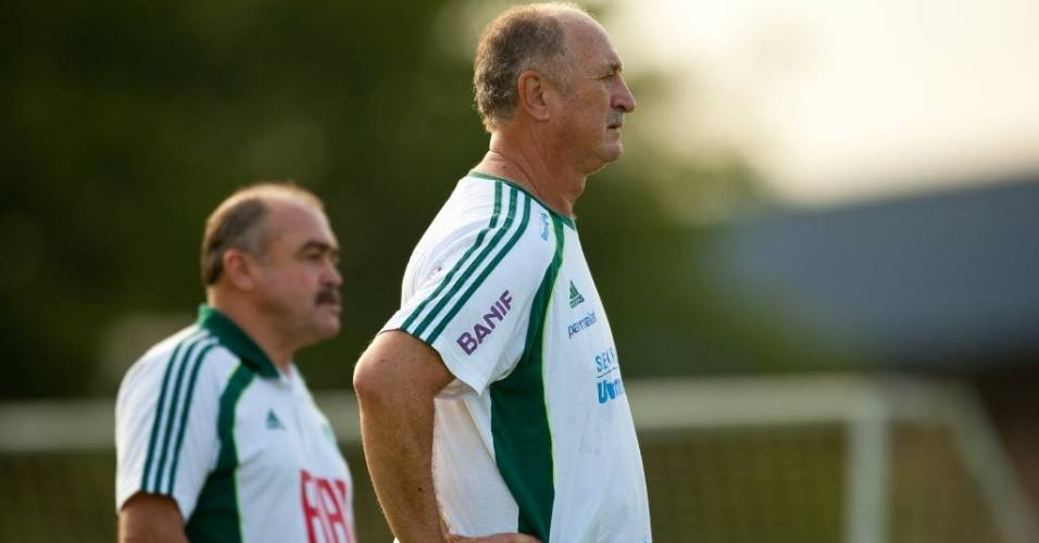 Luiz Felipe Scolari e Flvio Murtosa em treino do Palmeiras