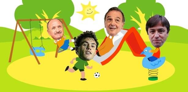 Montagem mostra o tcnico Luiz Felipe Scolari, o atacante Kleber, o vice de futebol Roberto Frizzo e o presidente do Palmeiras Arnaldo Tirone brincando em um parque de diverso