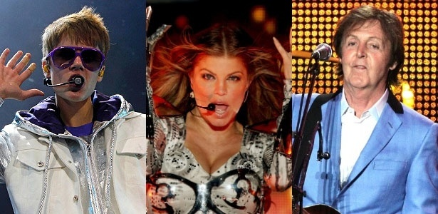 Montagem com fotos de Justin Bieber, Fergie, do Black Eyed Peas, e Paul McCartney