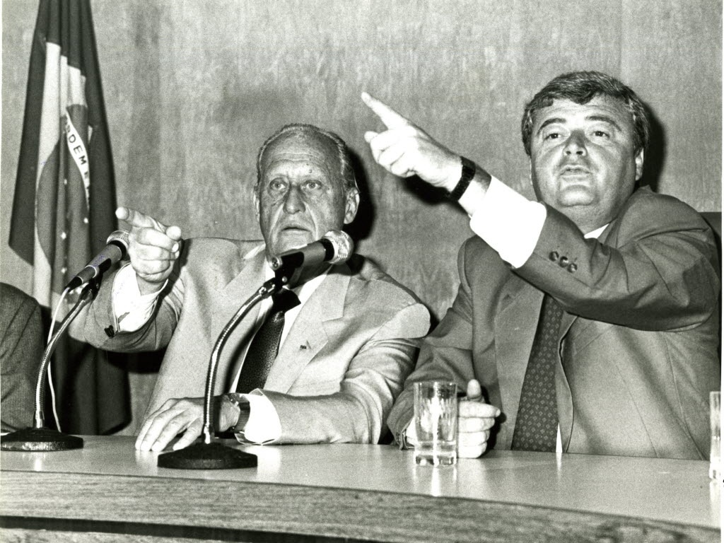 Joo Havelange e Ricardo Teixeira na CBF, em 1989