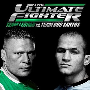 Poster do reality show the ultimate fighter, com Brock Lesnar e Júnior dos Santos