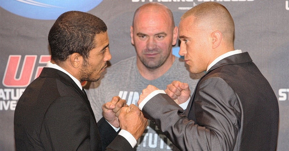 Jos Aldo encara Mark Hominick em promoo para a luta do UFC 129