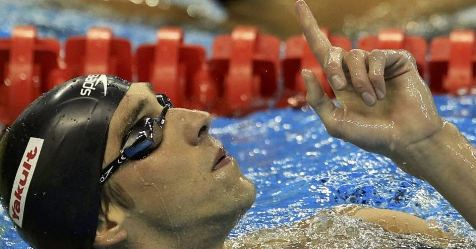 Michael Phelps festeja o ouro nos 200 m borboleta em Xangai