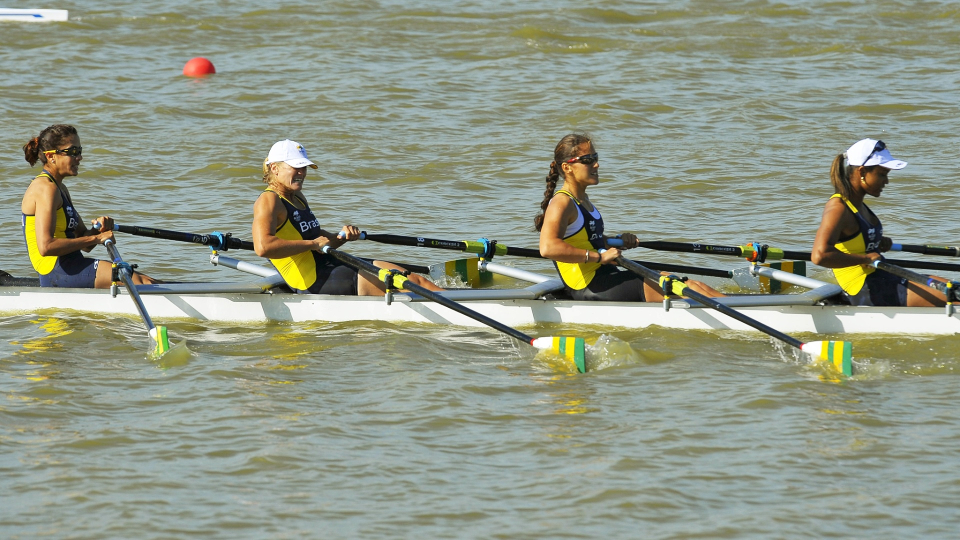Equipe brasileira do Four Skiff ficou na 6 colocao na final no Pan de Guadalajara (19/10/2011)