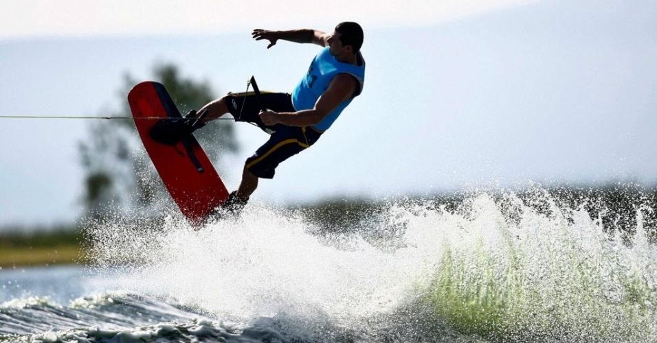Marcelo Giardi, o Marreco, compete no esqui aquático dos Jogos Pan-Americanos de Guadalajara