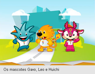 Mascotes do Pan 2011: Gavo, Leo e Huichi