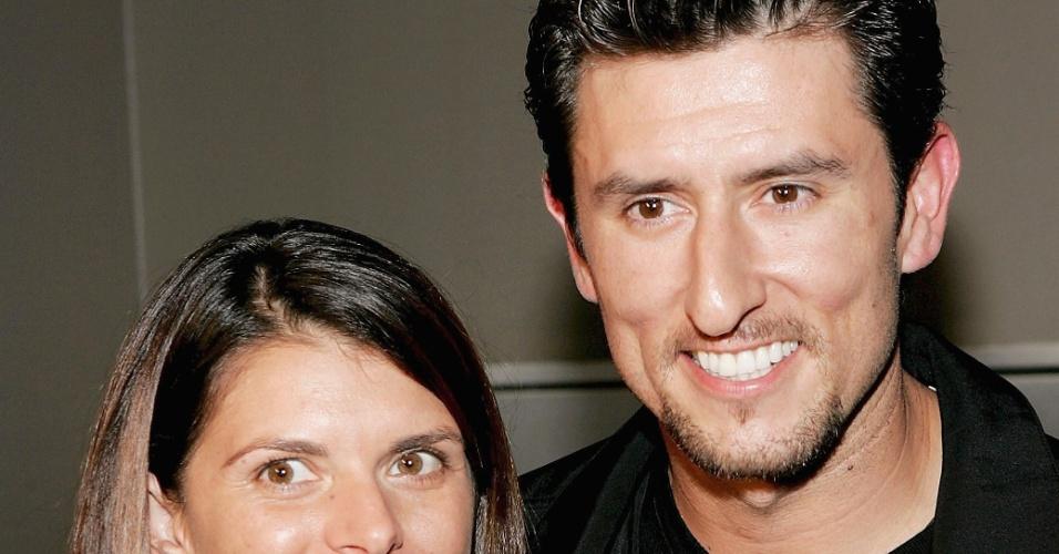 Norte-americana Mia Hamm, jogadora de futebol, e seu namorado Nomar Garciaparra, jogador de beisebol