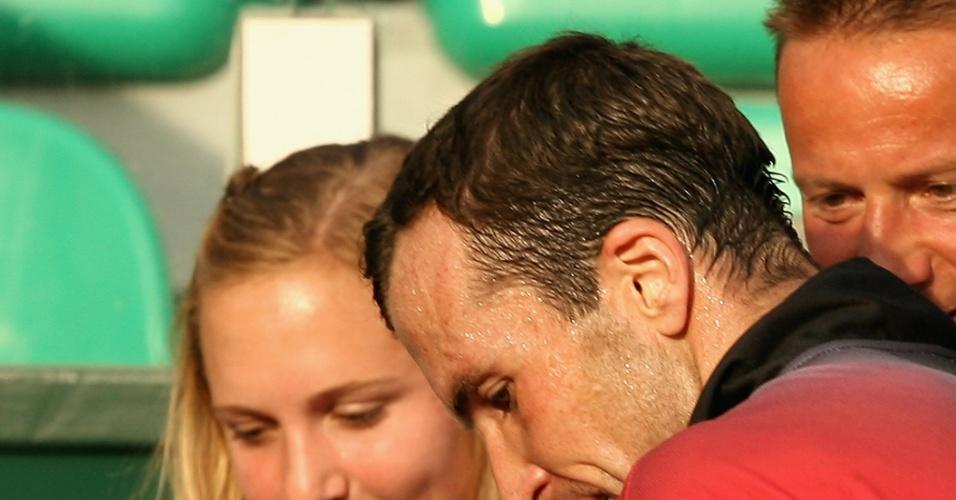 Tenista tcheco Radek Stepanek e sua namorada, a tenista apoesentada Nicole Vaidasova