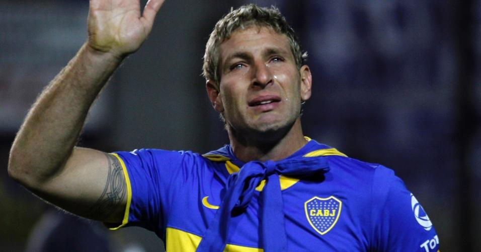 Martín Palermo, do Boca Juniors, chora em sua despedida no estádio da Bombonera, em Buenos Aires, Argentina