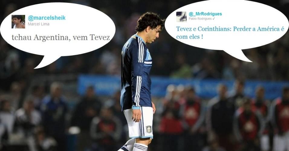 Bombou no Twitter: Eliminação no pênaltis colocou Carlitos Tevez nos Trending Topics. Torcedores rivais aproveitaram para