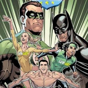 Capa de uma revista em quadrinhos que reúne Batman aos atletas Nastia Liukin, Michael Phelps e Apolo Ohno