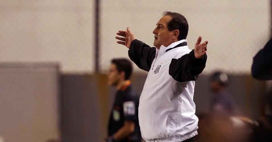 Técnico Muricy Ramalho orienta equipe do Santos no jogo contra o Cruzeiro na Vila (10/09/2011)
