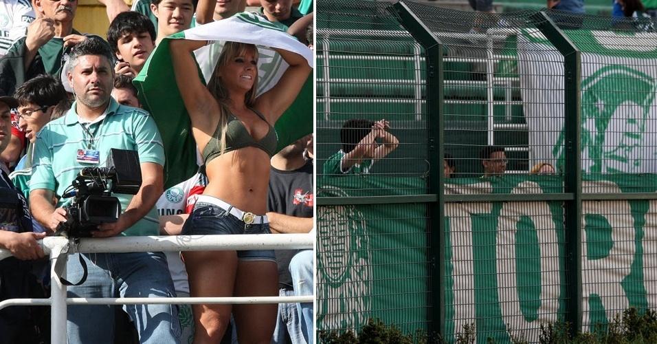 Na torcida pelo Palmeiras no Pacaembu, Juju Panicat se destaca se protegendo do sol com bandeira do time alviverde; Inter venceu por 3 a 0