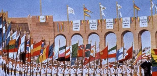 Cerimônia de abertura dos Jogos Olímpicos de 1932, no Estádio Olímpico de Los Angeles