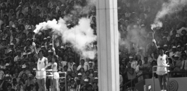 Detalhe da cerimônia de abertura dos Jogos Olímpicos de Seul, em 1988