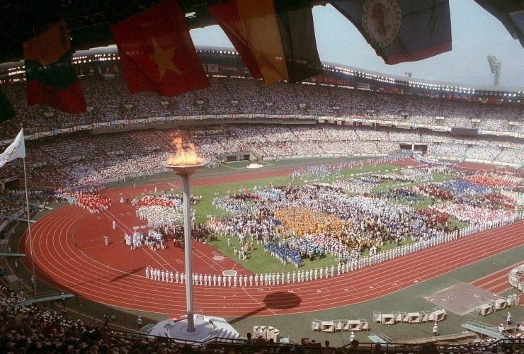 Cerimônia de abertura dos Jogos Olímpicos de Seul, na Coreia do Sul, em 1988