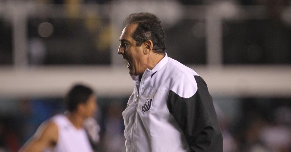 Muricy Ramalho sai gritando do campo após derrota para o Figueirense, que interrompeu série de quatro vitórias seguidas do Santos