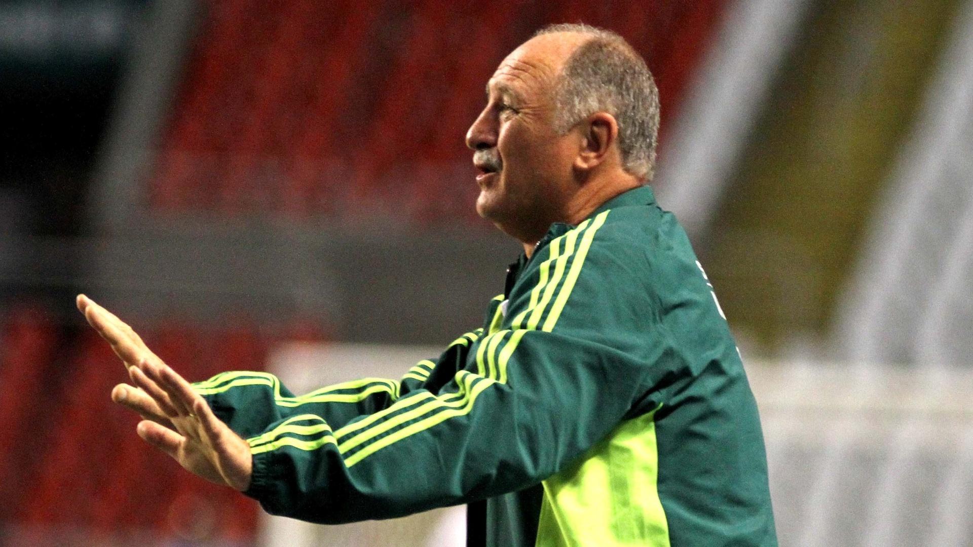 Luiz Felipe Scolari passa orientações aos jogadores do Palmeiras na partida contra o Flamengo (12/10/11)