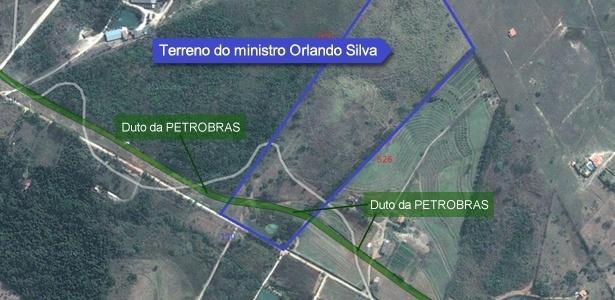 Vista de 2010 do terreno comprado pelo ministro; hoje há casa em construção no local - Google Maps/Arte UOL