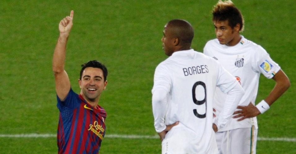 Neymar pouco pegou na bola no primeiro tempo e viu Xavi marcar o segundo gol do Barça