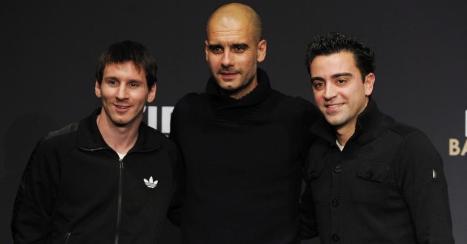 O Barcelona compareceu em peso na festa. Guardiola foi eleito o melhor técnico e Messi, o melhor jogador. Xavi também concorreu