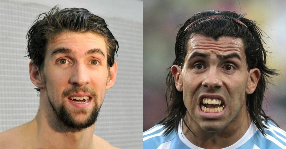 Phelps e Tevez devem ter se espantado com a semelhança entre os dois