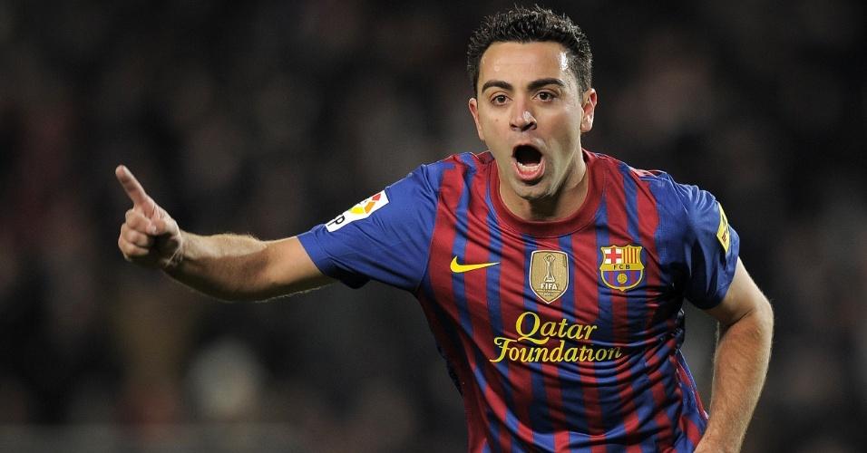 Xavi marcou gol na vitória do Barcelona sobre o Valencia, em jogo válido pela Copa do Rei