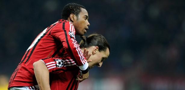 Robinho e Ibrahimovic foram parceiros no ataque do Milan entre 2010 e 2012