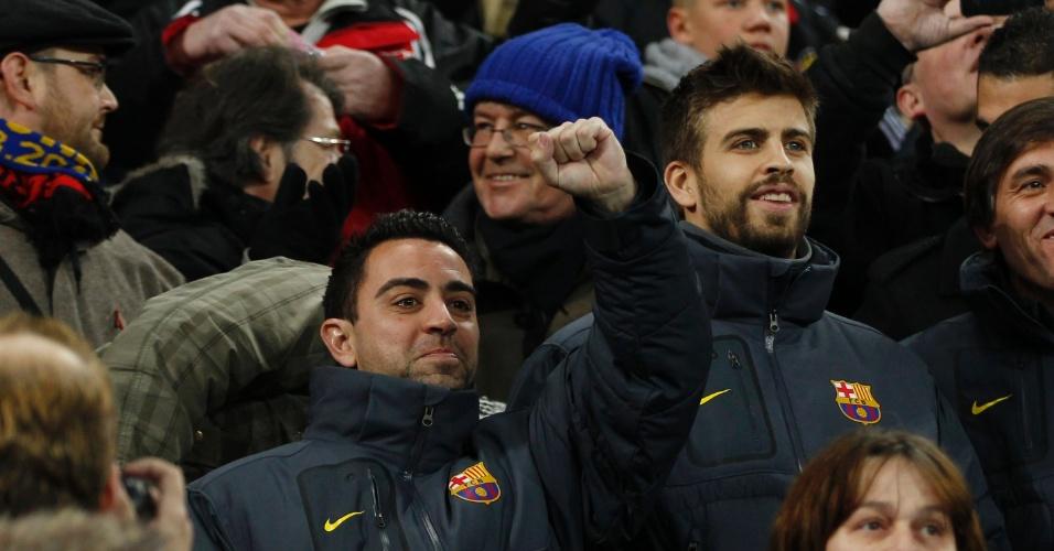 Xavi e Piqué foram poupados na partida contra o Bayer Leverkusen (15/02/2012)