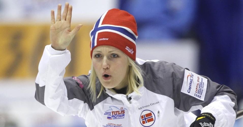 Norueguesa Linn Githmark foi uma das musas do Mundial de Curling, disputado na Dinamarca em 2011