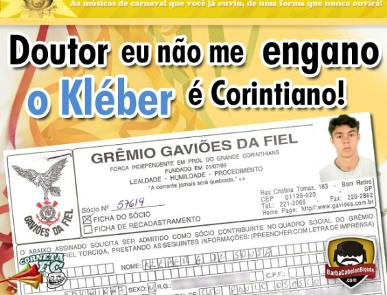 Corneta FC: Doutor, eu não me engano... O Kleber é corintiano