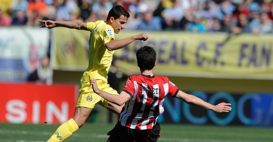 26.fev.2012 - Atacante brasileiro Nilmar deixou sua marca no empate contra o Bilbao pelo Campeonato Espanhol