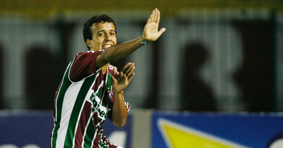 Matheus Carvalho, do Fluminense, comemora gol seu gol em partida contra Nova Iguaçu
